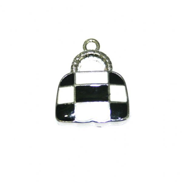 1 x 21*16mm rhodium plated cute handbag with black / white checks enamel charm - SD03 - CHE1219